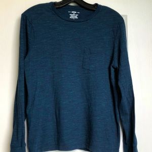 Long sleeve blue tee with green highlights size M
